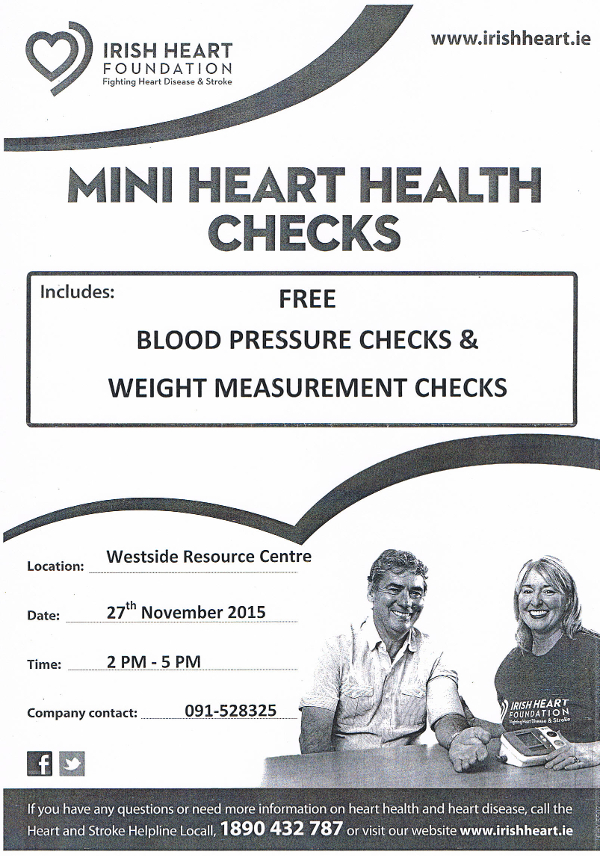 image of poster promoting Mini Heart Health Checks in Westside Resource Centre