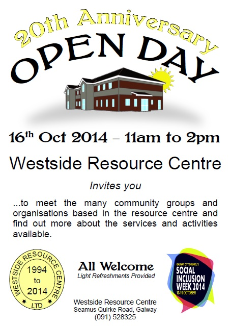 open day poster for Westside Resource Centre