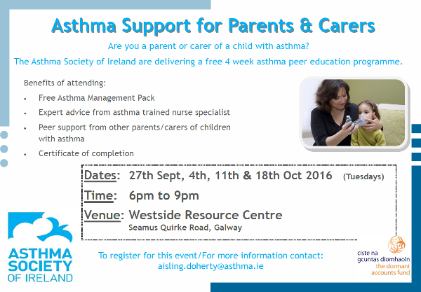 Westsdide Resource Centre Asthma Support course poster image